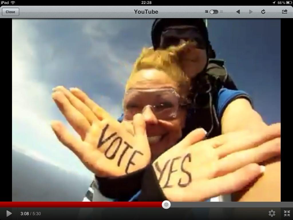 Vote Yes skydivers