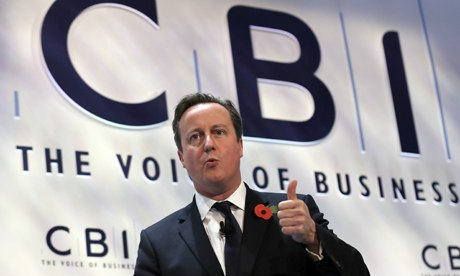 David Cameron speaks at the annual CBI conference