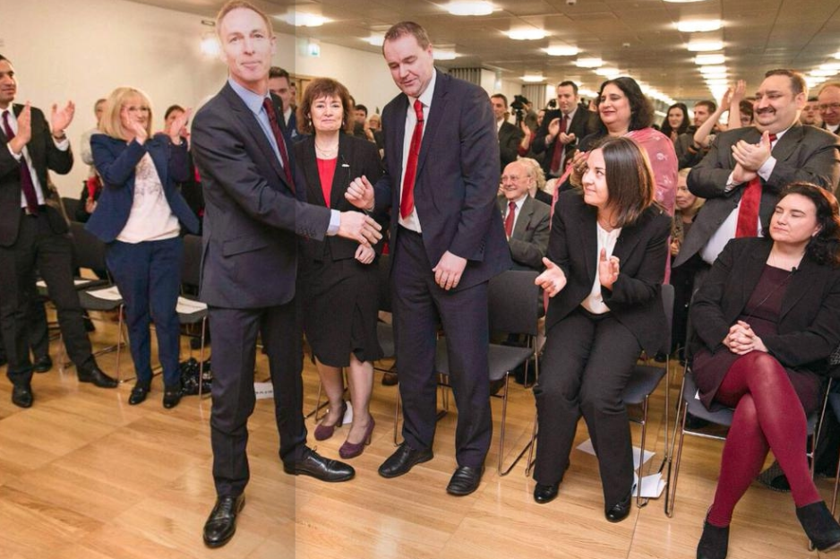 The other candidates rise to acclaim Jim Murphy as he wins the Scottish Labour leadership contest